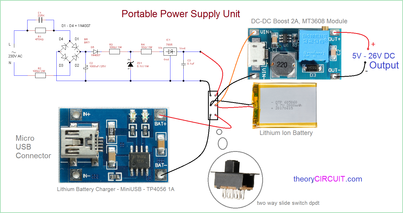 Portable Power Supply For Electronics on Boost Converter Design