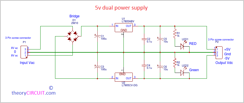 5V Dual power Supply circuit with PCB  V Power Supply Wiring Diagram on
