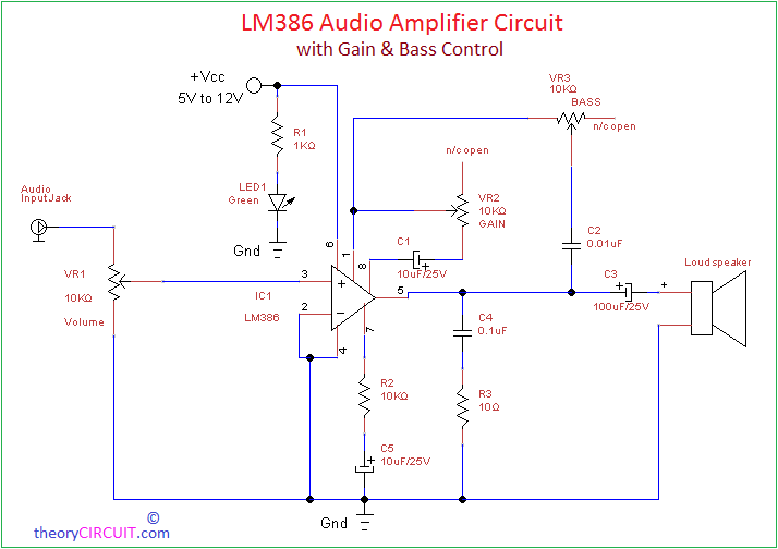 lm386 acoustic audio amplifier circuit rh theorycircuit com