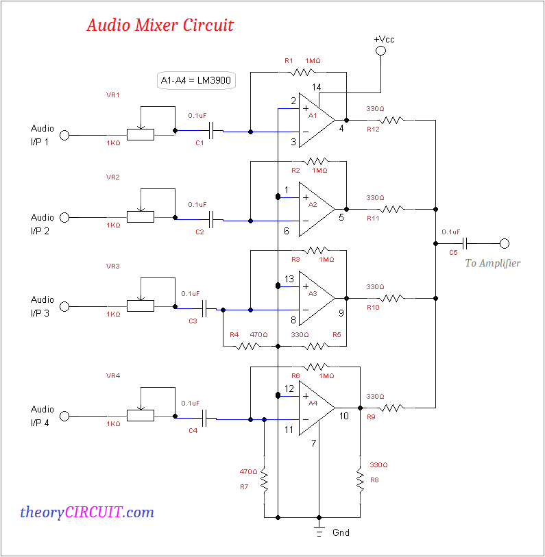 audio mixer circuit rh theorycircuit com mixer circuit diagram soundcraft efx 12 mixer circuit diagram pdf
