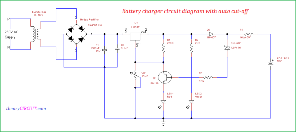 battery charger circuit diagram with auto cut off 4 pin regulator wiring diagram #3