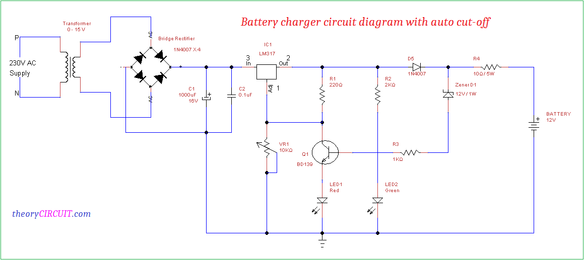 Battery charger circuit diagram with auto cut-off on