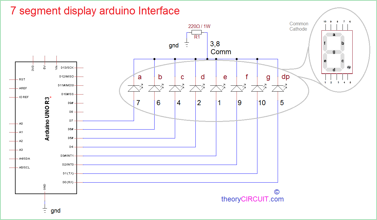 Segment Display Arduino Interface on Led Anode Cathode Circuit