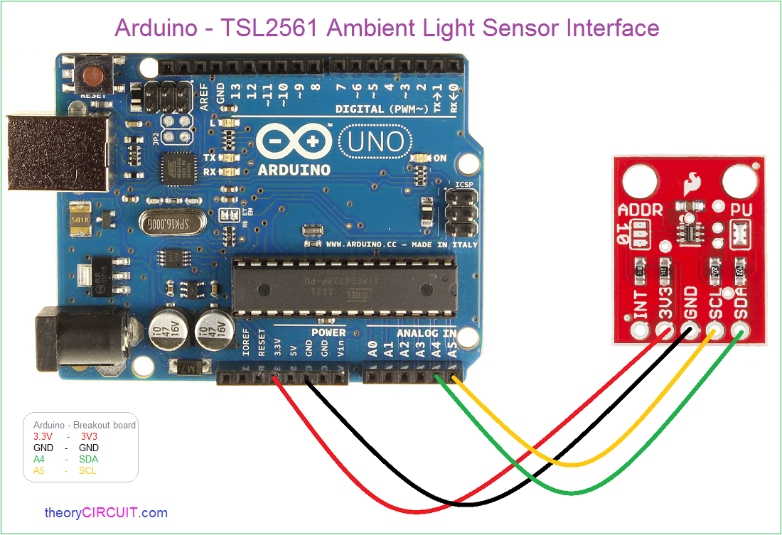 Arduino tsl ambient light sensor interface