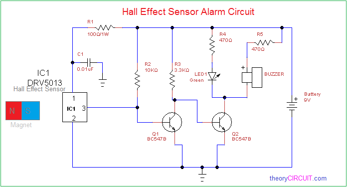 Hall Effect Sensor Alarm Circuit on soil moisture sensor circuit