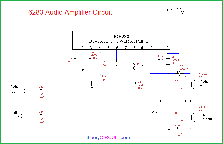 6283 audio amplifier circuitHere Is Circuit Mini Power Amplifier Low Watt 1 2w Only In Circuit #20
