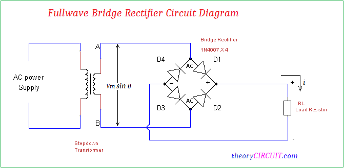 full wave bridge rectifier circuit diagram rh theorycircuit com circuit diagram diode bridge rectifier simple circuit diagram of rectifier