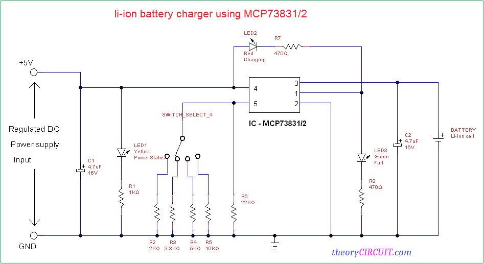 Li ion battery charger circuit circuit diagram ccuart