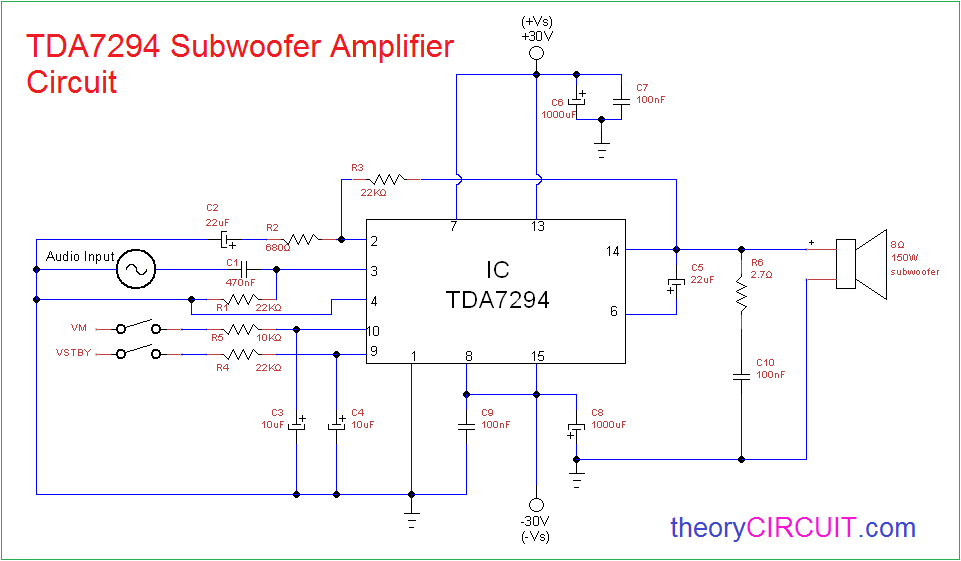 100W Subwoofer Amplifier Circuit Diagram | Tda7294 Subwoofer Amplifier Circuit