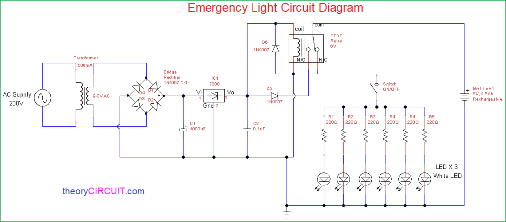 Simple emergency light circuit with charger