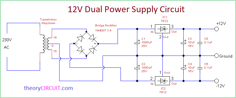 Volt Dual Power Supply Circuit on Dc To Ac Power Inverter Circuit Diagram