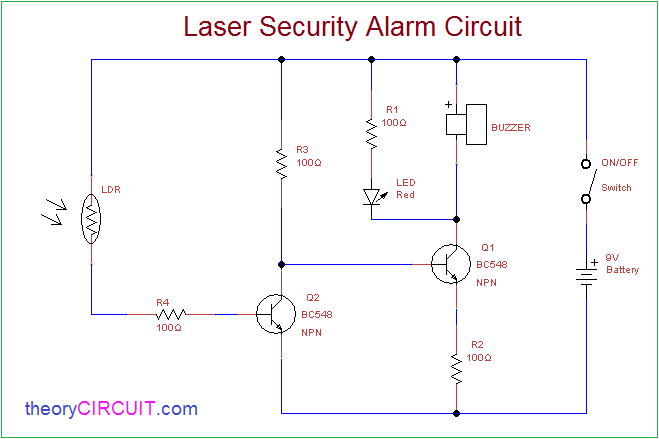 laser security alarm circuit rh theorycircuit com security system circuit diagram security alarm circuit diagram pdf