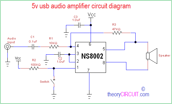 5V USB Audio Amplifier Circuit Diagram