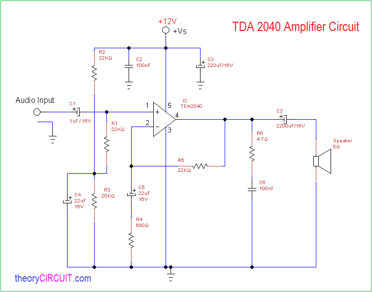 Swell Tda2040 Audio Amplifier Circuit Diagram Theorycircuit Do It Wiring 101 Vieworaxxcnl