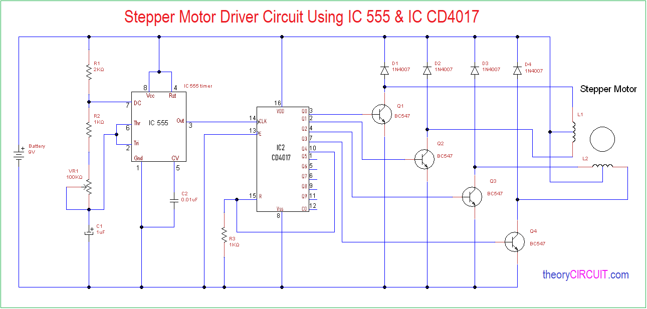 Stepper-Motor-driver-circuit-using-555 Unipolar Stepper Motor Driver Schematic on stepper motor controller schematic, motor control circuit schematic, bipolar stepper motor schematic, unipolar stepper driver schematic, servo motor schematic,