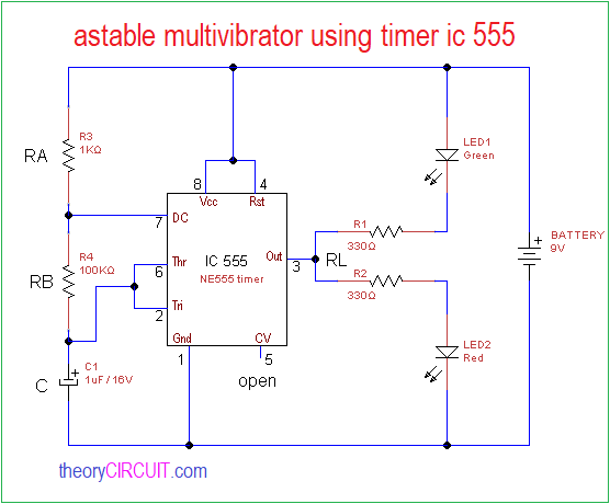 astable multivibrator using timer ic 555 - theoryCIRCUIT - Do It