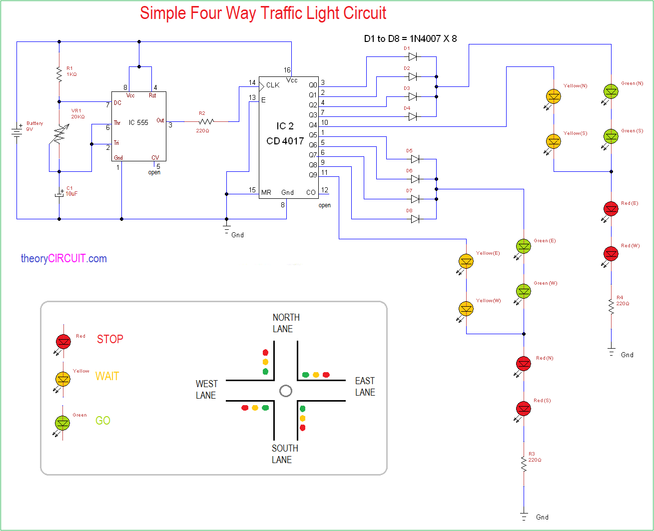 Simple    Four       Way    Traffic Light Circuit