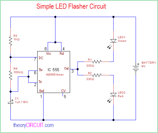 Simple LED Flasher Circuit on
