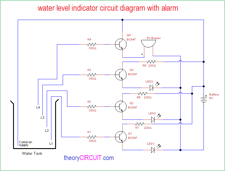 water level indicator alarm rh theorycircuit com numerical water level indicator circuit diagram circuit diagram of water level indicator with alarm