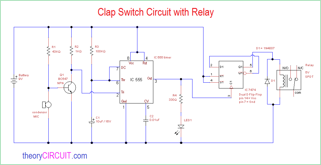 Excellent Clap Switch Circuit With Relay Wiring 101 Photwellnesstrialsorg