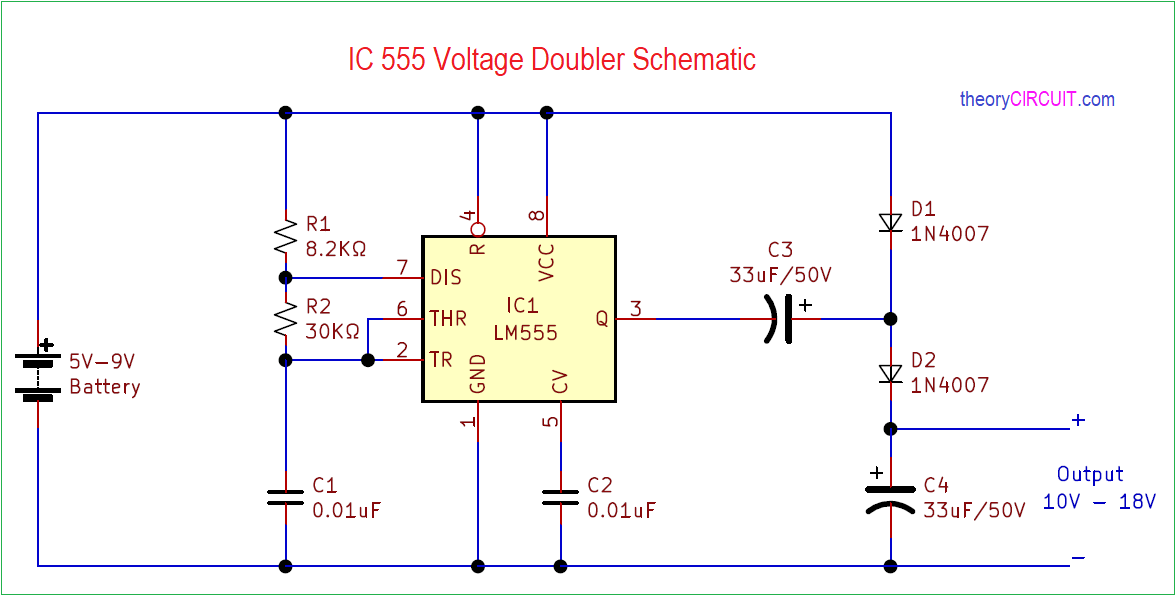 Simple IC 555 Voltage Doubler Schematic on