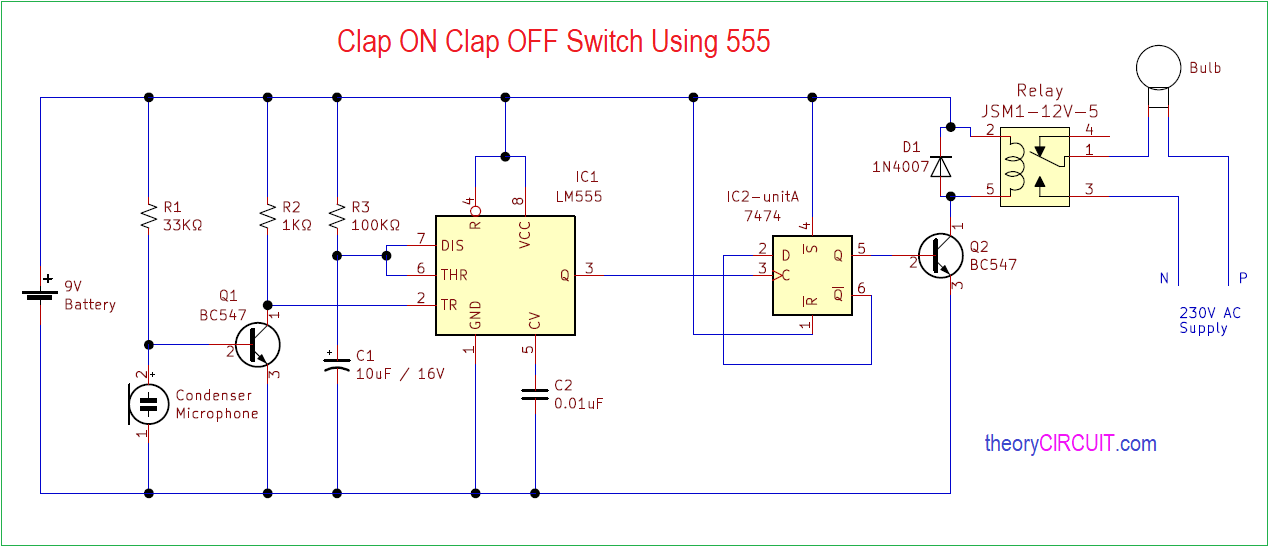 Clap On Clap Off Switch Using 555
