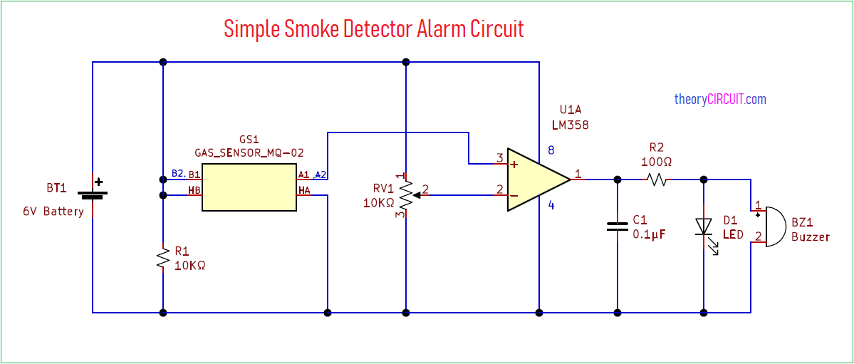 Simple Smoke Detector Alarm Circuit Using Mq02