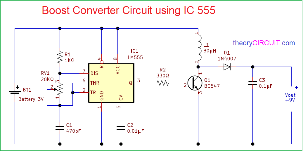 Boost Converter Circuit 555 on